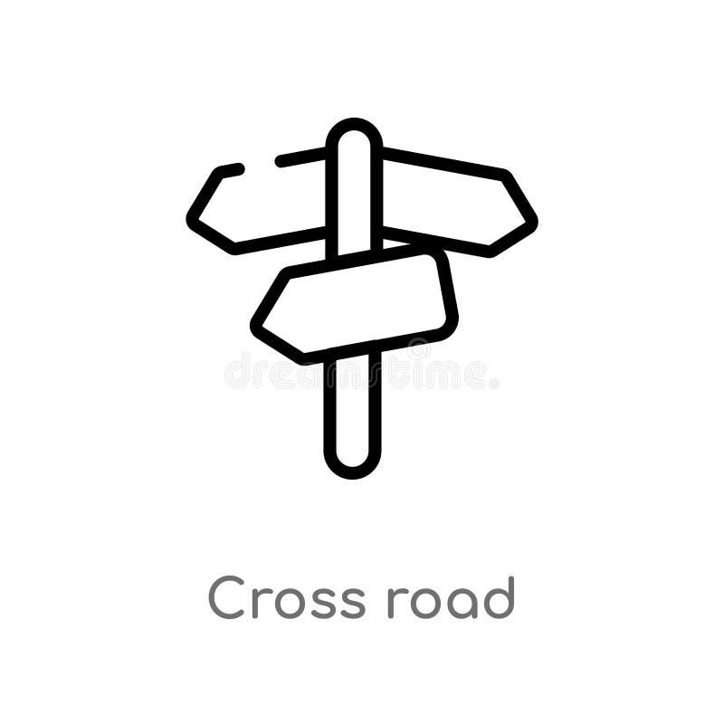 значок вектора дороги плана перекрестный изолированная черная простая линия иллюстрация элемента от концепции транспорта editable бесплатная иллюстрация