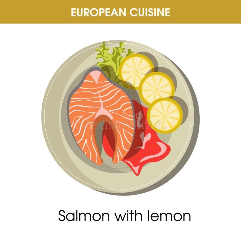 Значок вектора еды блюда европейских рыб кухни salmon традиционный для меню ресторана иллюстрация штока