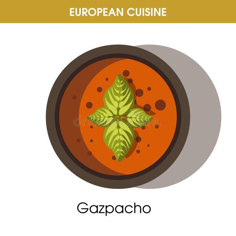 Значок вектора еды блюда европейского супа гаспачо кухни традиционный для меню ресторана иллюстрация вектора