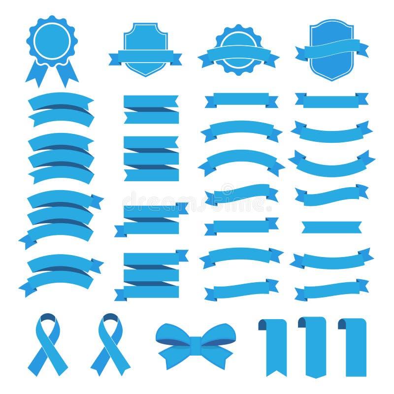 Значок вектора ленты установленный на белую предпосылку Знамя собрания изолировало иллюстрацию форм подарка и аксессуара иллюстрация вектора