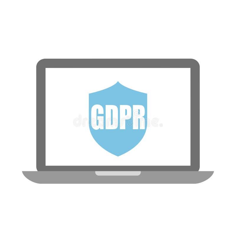 Значок вектора защиты данных Gdpr иллюстрация вектора