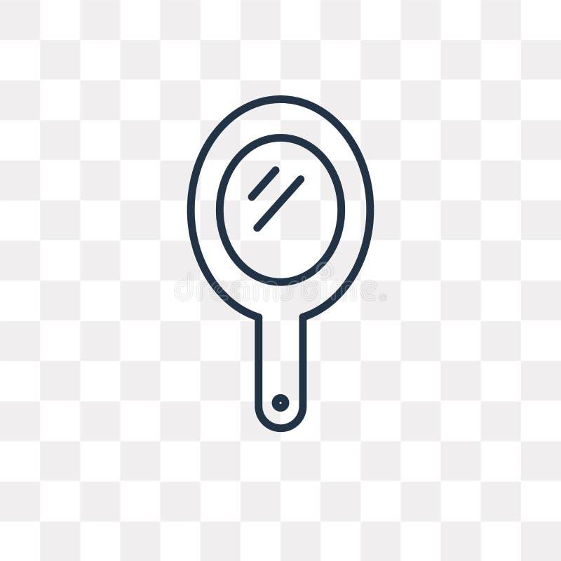 Значок вектора зеркала руки изолированный на прозрачной предпосылке, линии иллюстрация вектора