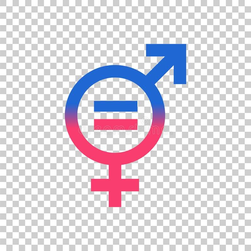 Значок вектора знака равенства рода Люди и значок концепции woomen равный иллюстрация вектора