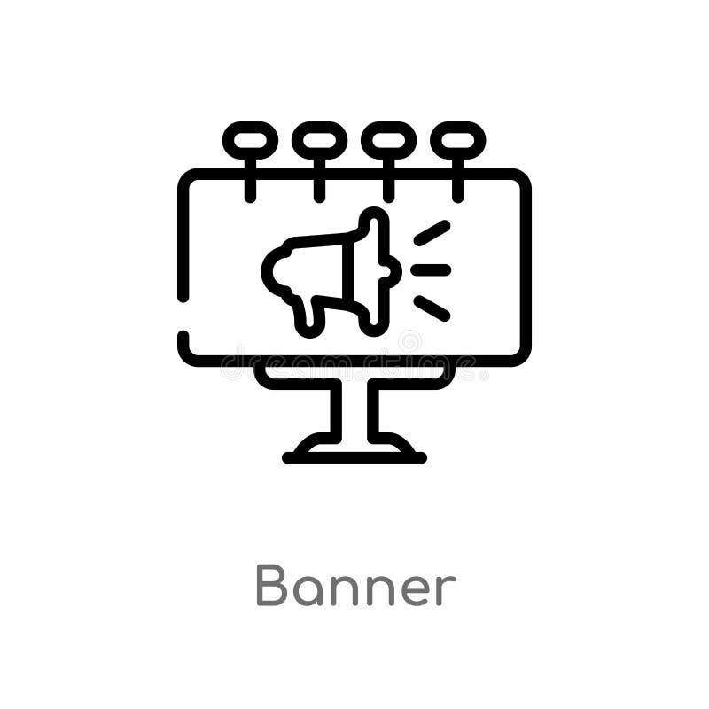 значок вектора знамени плана изолированная черная простая линия иллюстрация элемента от выходя на рынок концепции editable знамя  иллюстрация штока