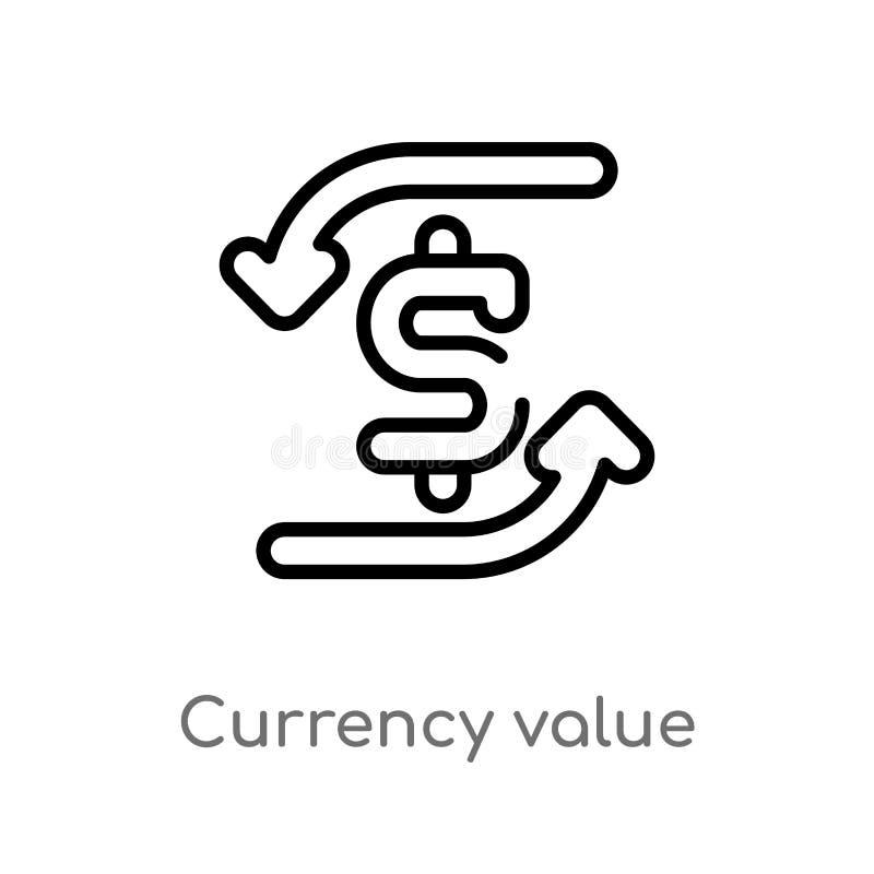 значок вектора значения валюты плана изолированная черная простая линия иллюстрация элемента от концепции знаков Editable ход век бесплатная иллюстрация