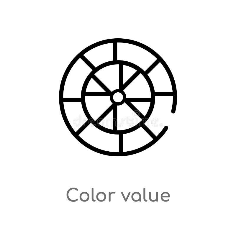 значок вектора значения цвета плана изолированная черная простая линия иллюстрация элемента от концепции технологии Editable ход  иллюстрация вектора