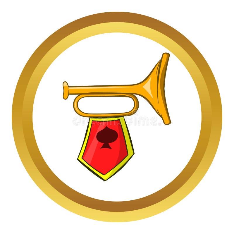 Значок вектора золотой трубы, стиль шаржа иллюстрация штока