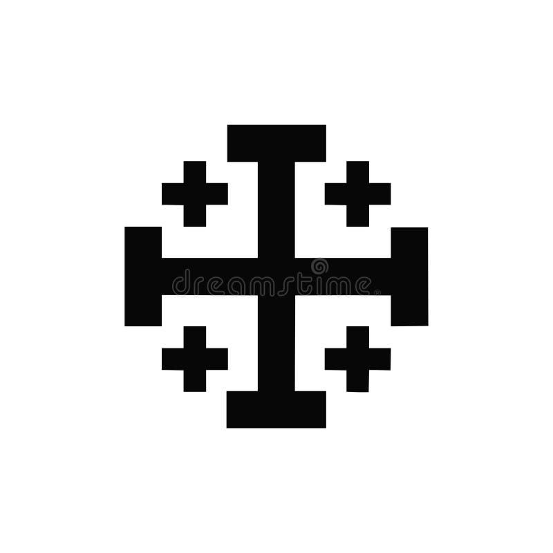 Значок вектора изолированный чернотой креста крестоносцев греческого бесплатная иллюстрация