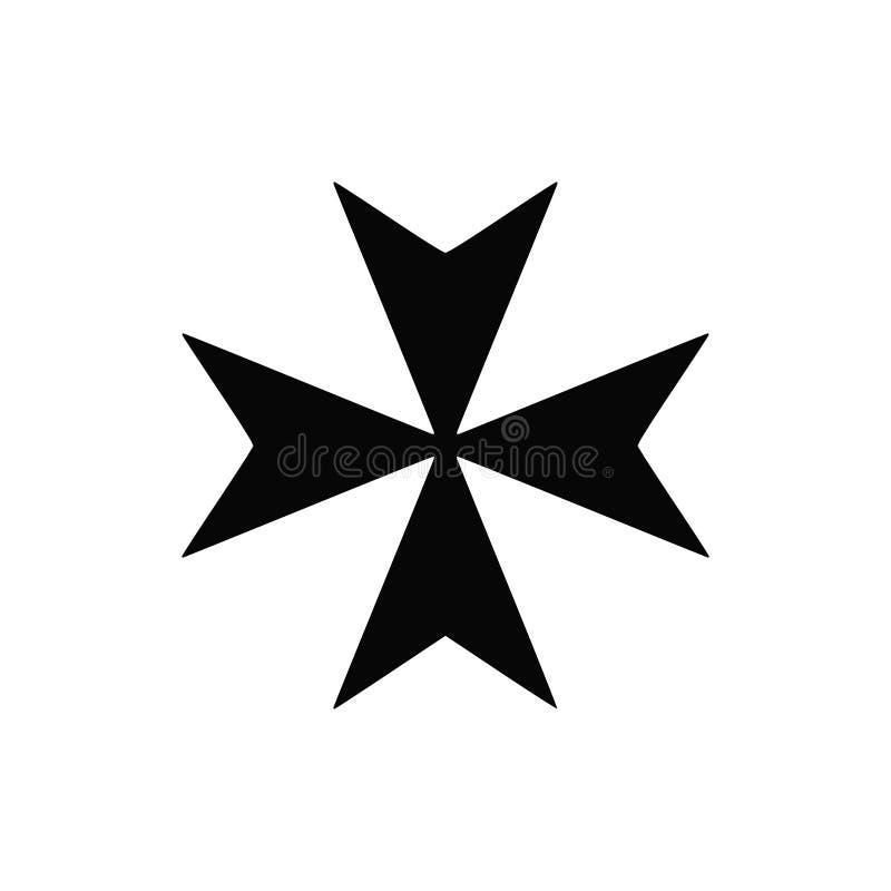 Значок вектора изолированный чернотой креста Мальты иллюстрация вектора