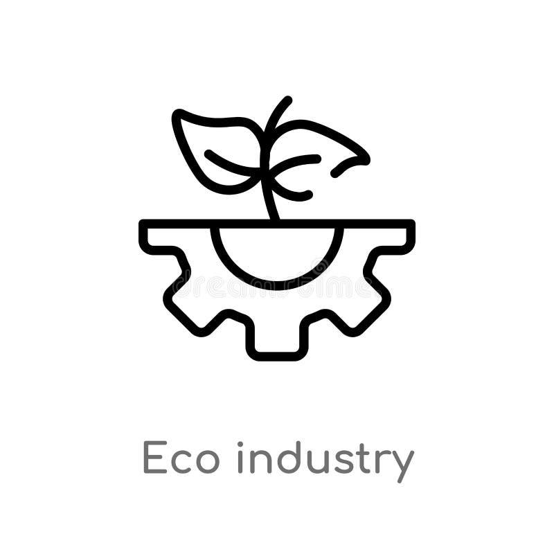 значок вектора индустрии eco плана изолированная черная простая линия иллюстрация элемента от концепции экологичности editable ec иллюстрация штока