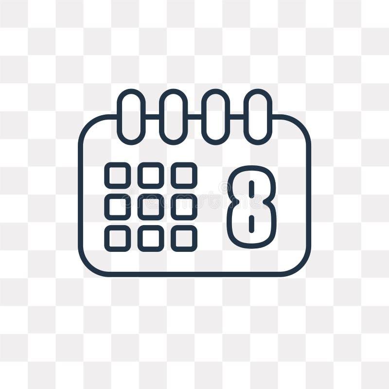Значок вектора календаря изолированный на прозрачной предпосылке, линейной иллюстрация штока