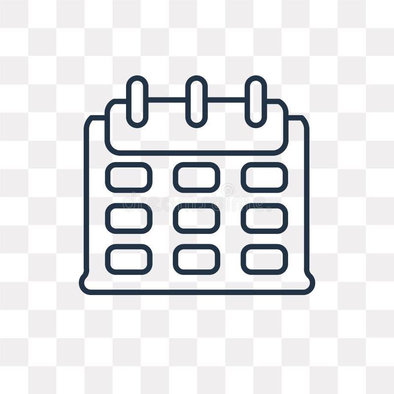Значок вектора календаря изолированный на прозрачной предпосылке, линейной иллюстрация вектора