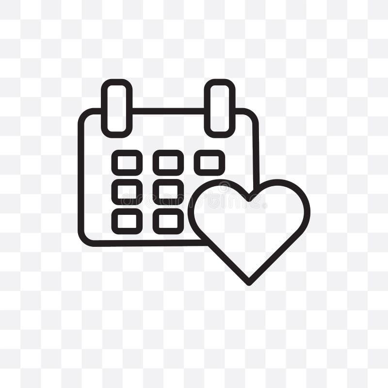 значок вектора календаря любов линейный изолированный на прозрачной предпосылке, концепции транспарентности календаря любов можно иллюстрация штока