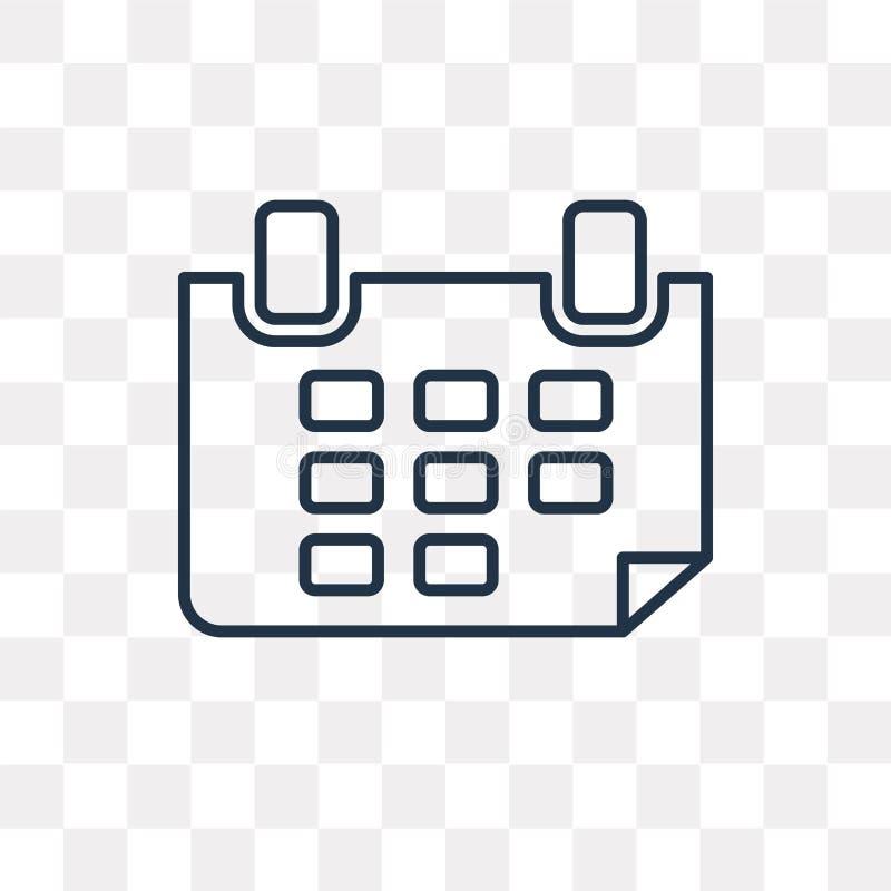 Значок вектора календаря недели изолированный на прозрачной предпосылке, li иллюстрация штока