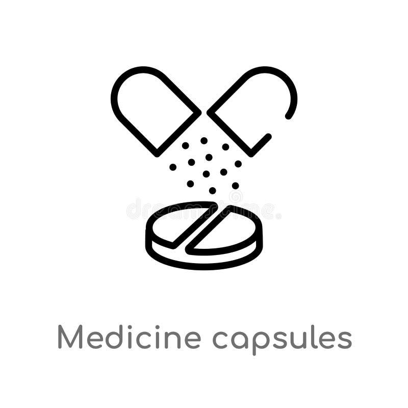 значок вектора капсул медицины плана изолированная черная простая линия иллюстрация элемента от медицинской концепции editable ве бесплатная иллюстрация