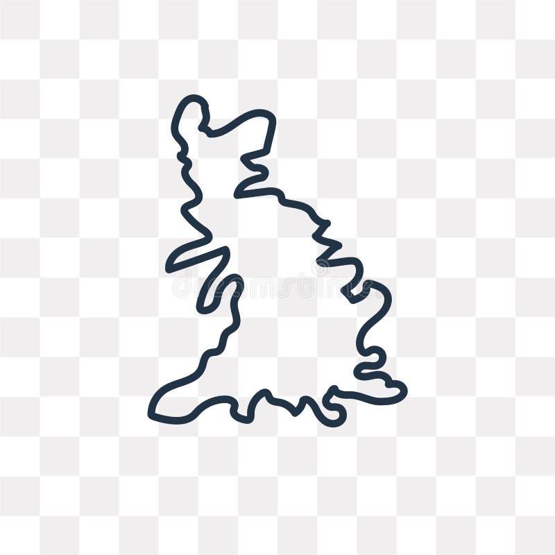 Значок вектора карты Великобритании изолированный на прозрачном backgroun иллюстрация штока
