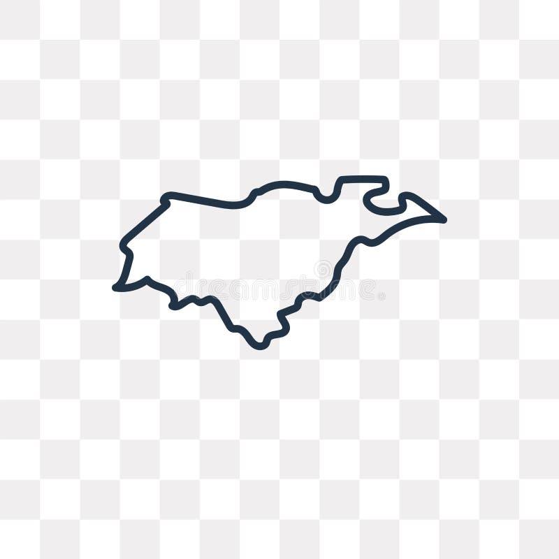 Значок вектора карты Гондураса изолированный на прозрачной предпосылке, lin иллюстрация вектора