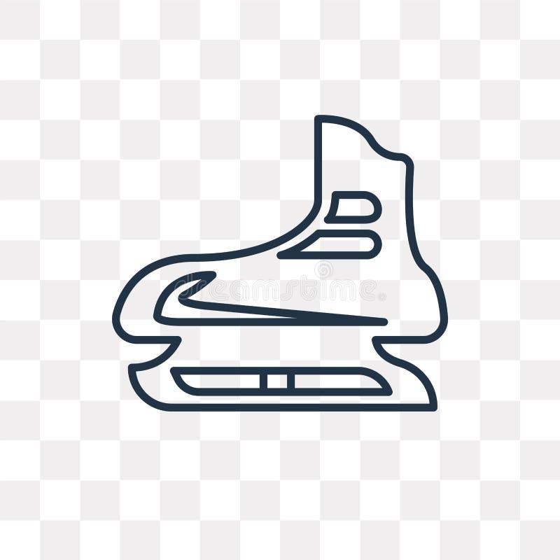 Значок вектора катания на коньках изолированный на прозрачной предпосылке, линии иллюстрация штока