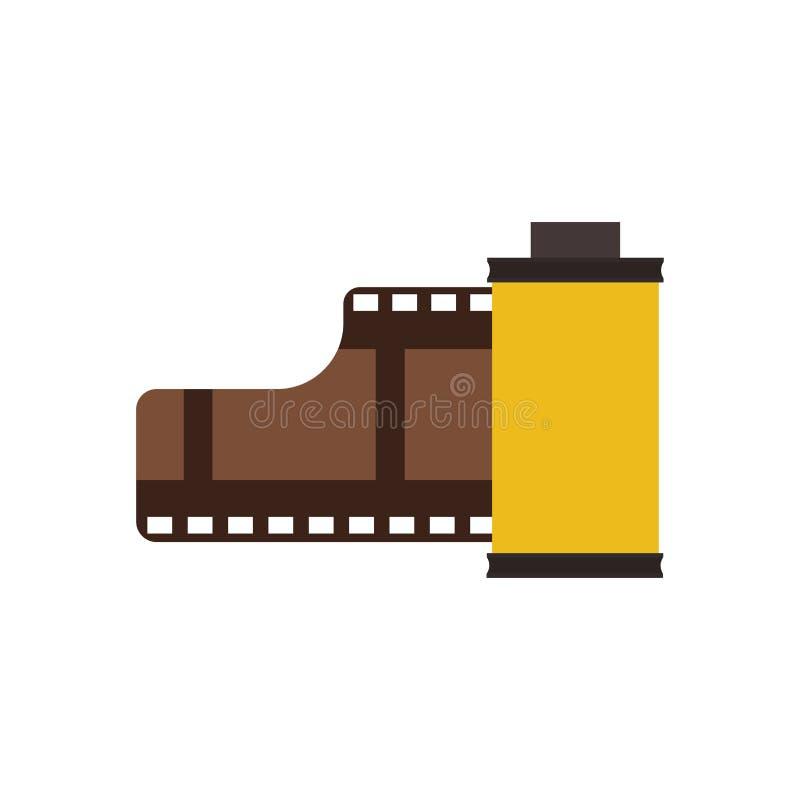 Значок вектора кино технологии символа крена фильма Лента круга вьюрка прокладки видео- сетноая-аналогов Винтажная отрицательная  иллюстрация вектора