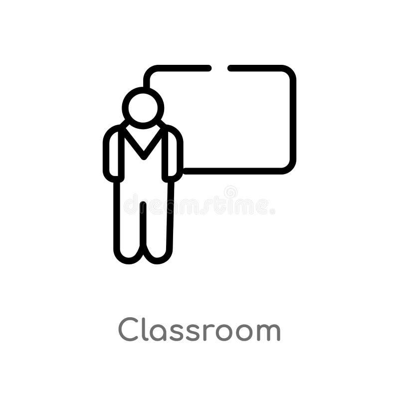 значок вектора класса плана изолированная черная простая линия иллюстрация элемента от концепции людей Editable ход вектора бесплатная иллюстрация
