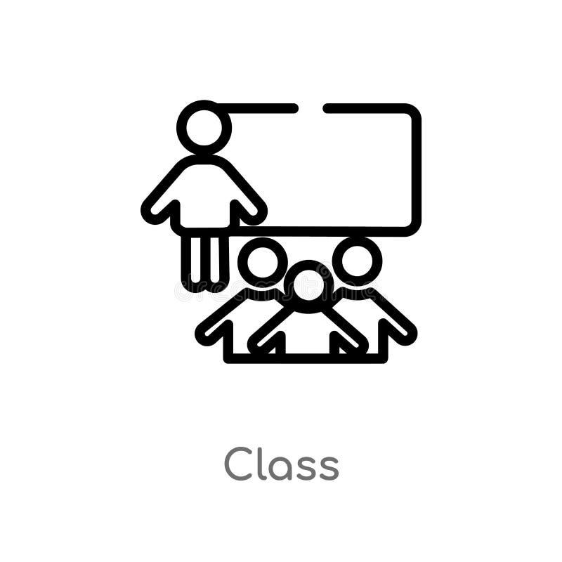 значок вектора класса плана изолированная черная простая линия иллюстрация элемента от концепции людей editable значок класса ход бесплатная иллюстрация