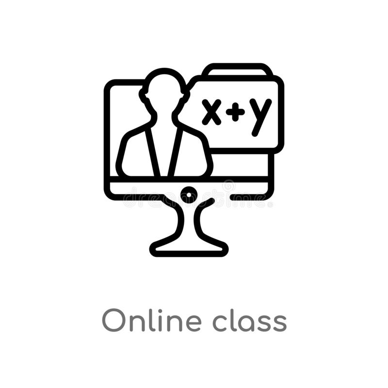 значок вектора класса плана онлайн изолированная черная простая линия иллюстрация элемента от концепции образования Editable ход  иллюстрация вектора