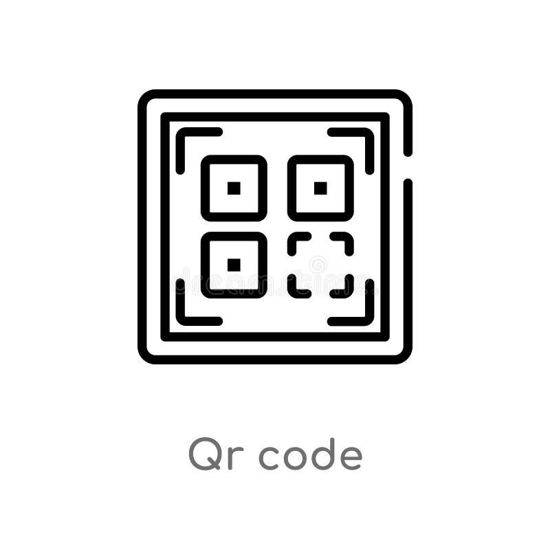 значок вектора кода qr плана изолированная черная простая линия иллюстрация элемента от доставки и логистической концепции editab иллюстрация вектора