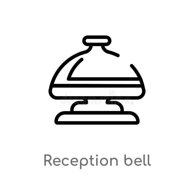 значок вектора колокола приема плана изолированная черная простая линия иллюстрация элемента от концепции гостиницы и ресторана e бесплатная иллюстрация