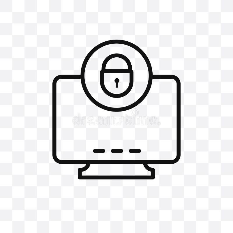 Значок вектора компьютерной безопасности линейный изолированный на прозрачной предпосылке, концепции транспарентности компьютерно бесплатная иллюстрация