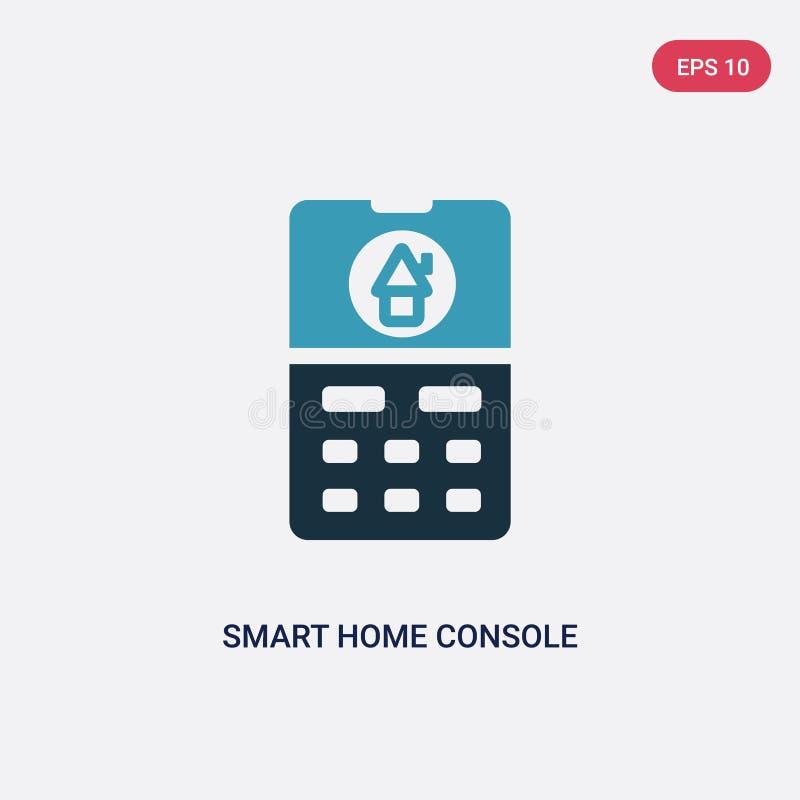 Значок вектора консоли 2 цветов умный домашний от умной домашней концепции изолированный голубой умный домашний символ знака вект иллюстрация вектора