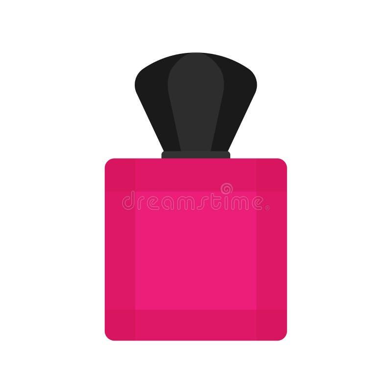 Значок вектора контейнера косметик заботы флакона духов жидкостный плоско Знак ретро ароматичных женщин крупного плана розовый ст бесплатная иллюстрация