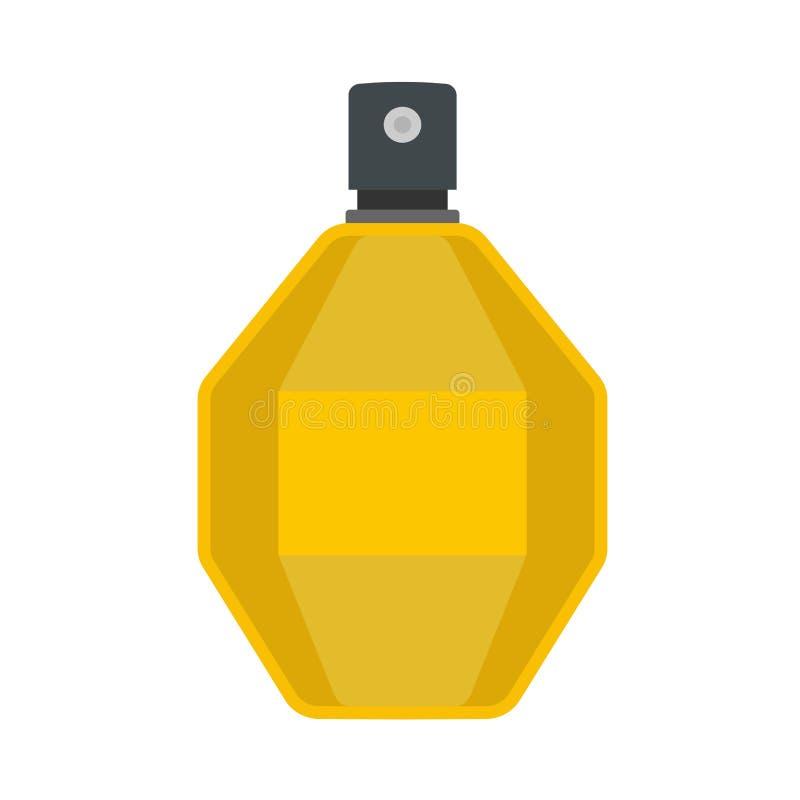 Значок вектора контейнера косметик заботы флакона духов жидкостный плоско Знак ретро ароматичных женщин крупного плана желтый сте иллюстрация штока