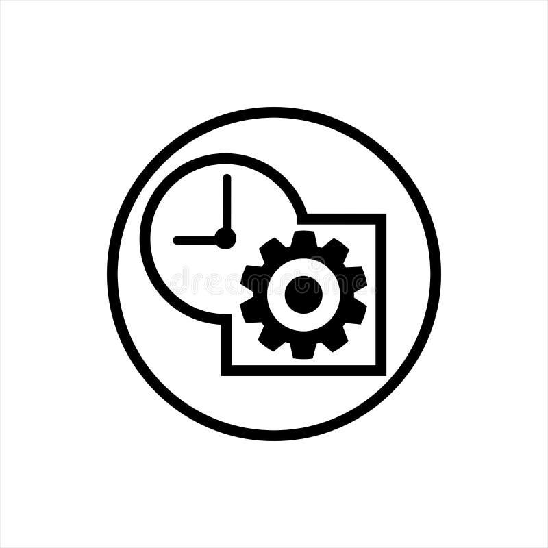 Значок вектора контроля времени черно-белый бесплатная иллюстрация