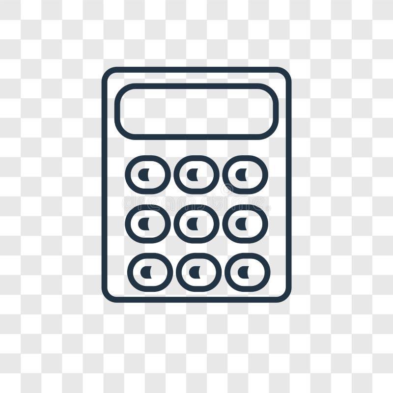 Значок вектора концепции калькулятора линейный на прозрачном ба иллюстрация штока