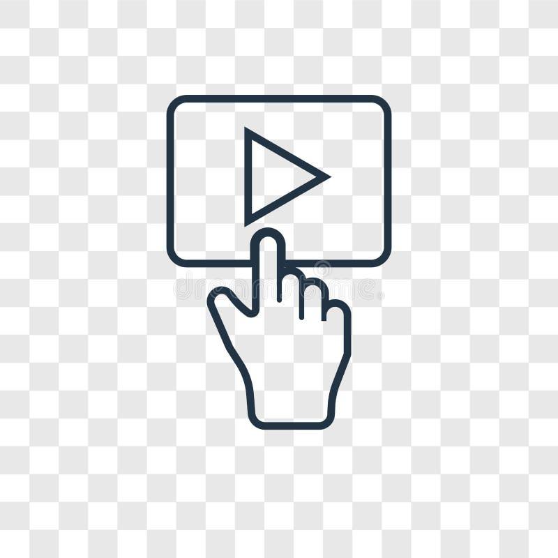 Значок вектора концепции кнопки игры линейный изолированный на прозрачном b бесплатная иллюстрация