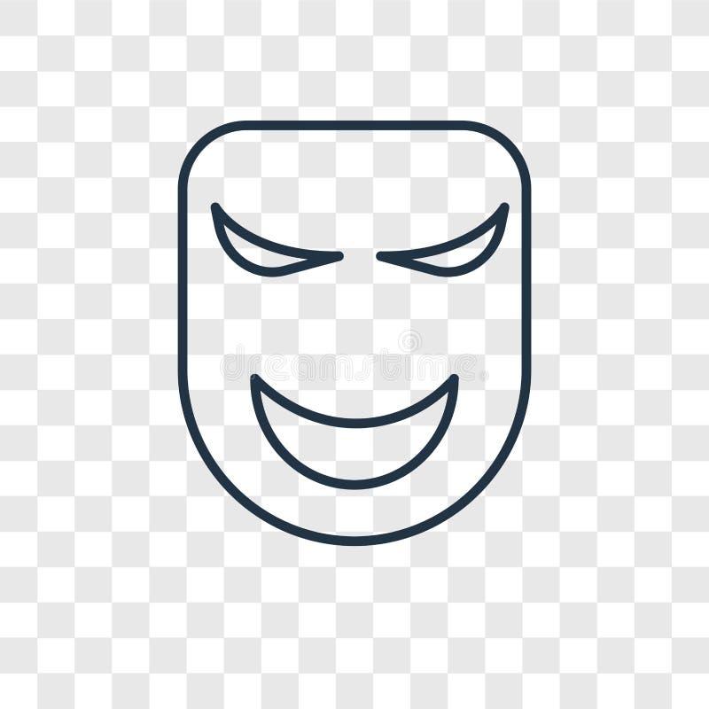 Значок вектора концепции маски линейный изолированный на прозрачном backgrou бесплатная иллюстрация