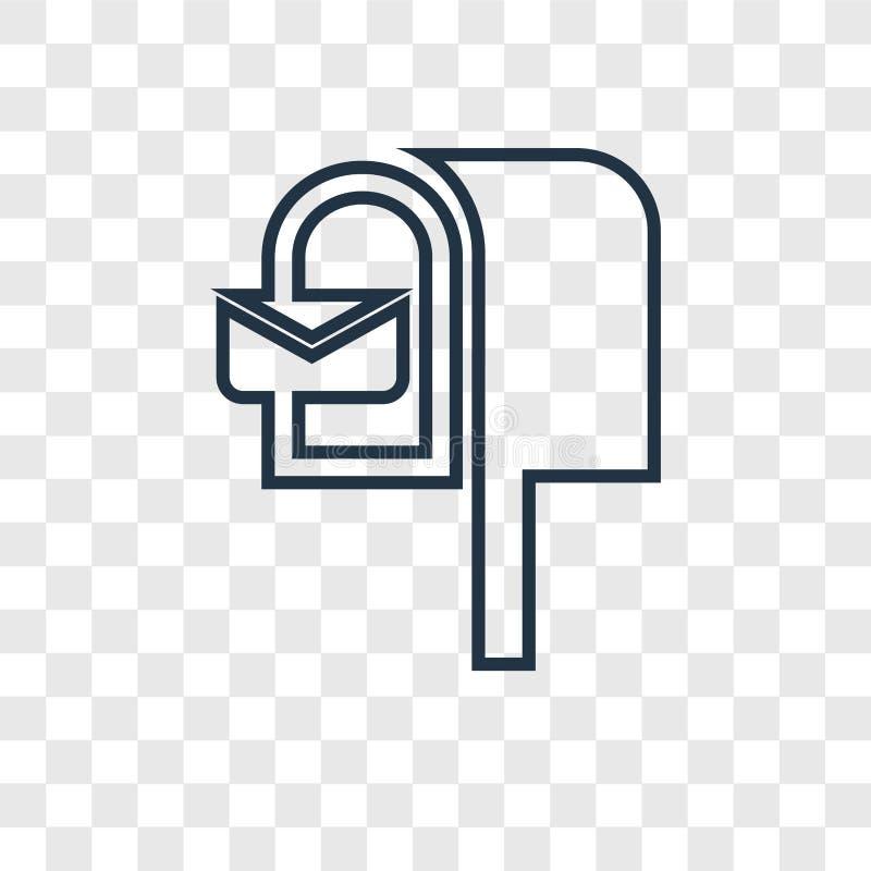 Значок вектора концепции почтового ящика линейный изолированный на прозрачном backg иллюстрация вектора