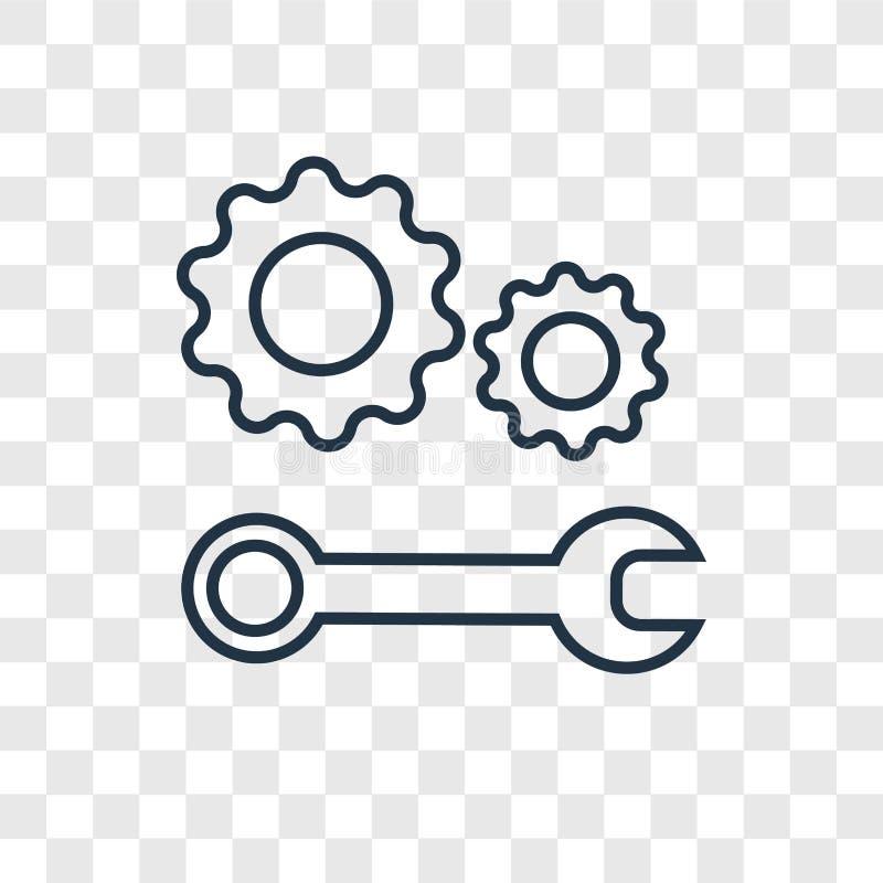 Значок вектора концепции службы технической поддержки линейный изолированный на transpa бесплатная иллюстрация