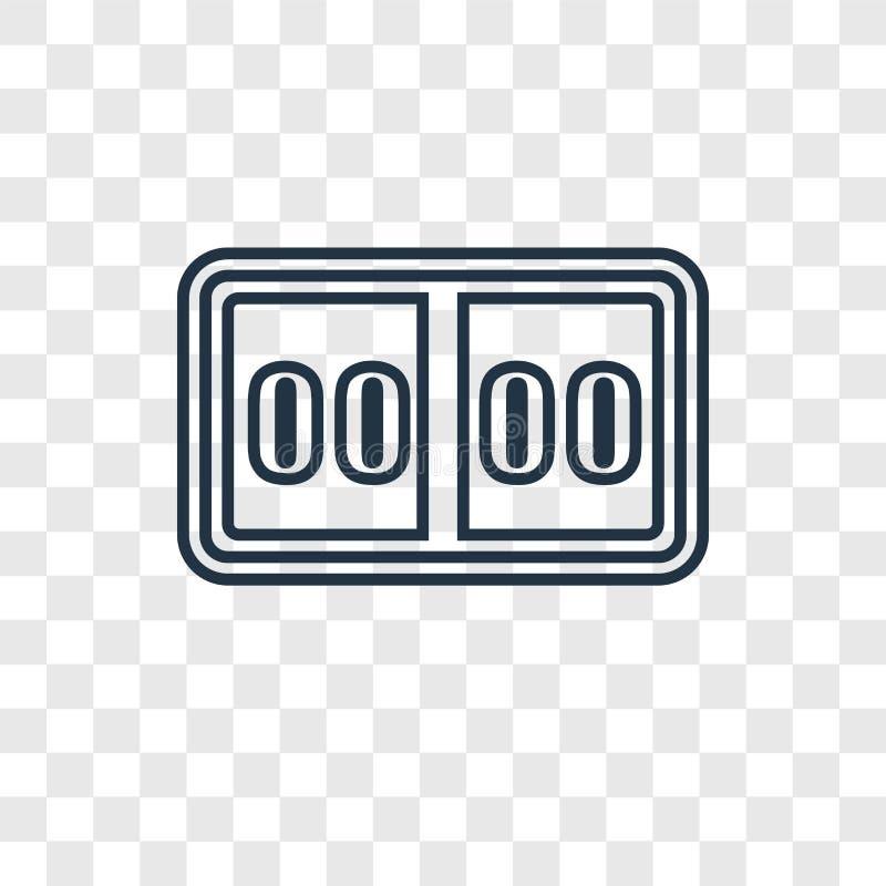 Значок вектора концепции счета линейный изолированный на прозрачном backgro иллюстрация штока