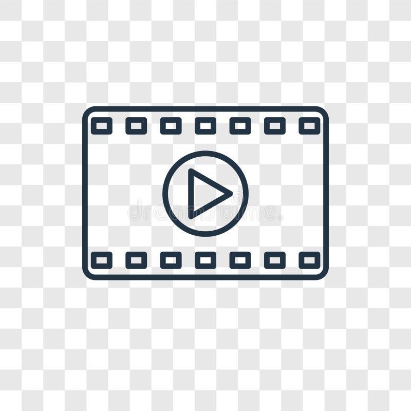 Значок вектора концепции фильма линейный изолированный на прозрачном backgro иллюстрация штока