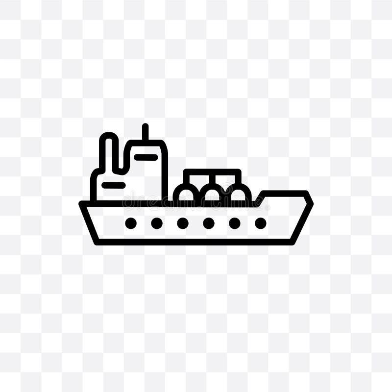 Значок вектора корабля нефтяного танкера линейный изолированный на прозрачной предпосылке, концепции транспарентности корабля неф бесплатная иллюстрация