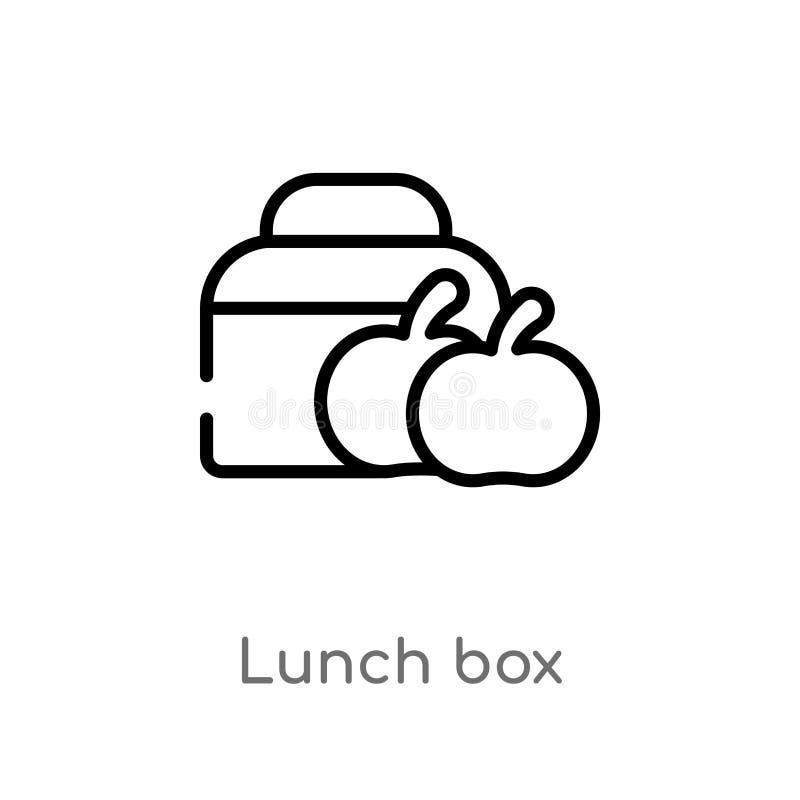 значок вектора коробки для завтрака плана изолированная черная простая линия иллюстрация элемента от концепции образования 2 edit иллюстрация штока
