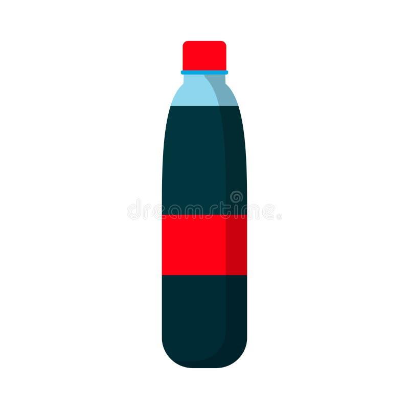 Значок вектора красной этикетки символа бутылки сока плоский Стеклянный напиток лимонада силуэта Продукт напитка соды лета иллюстрация вектора
