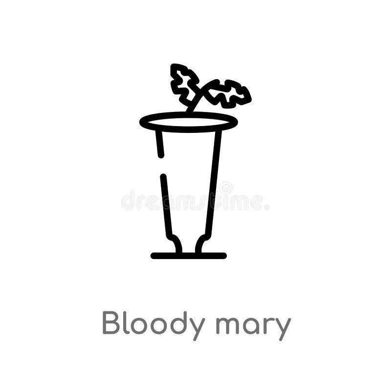 значок вектора кровавой Мэри плана изолированная черная простая линия иллюстрация элемента от концепции напитков Editable ход век бесплатная иллюстрация