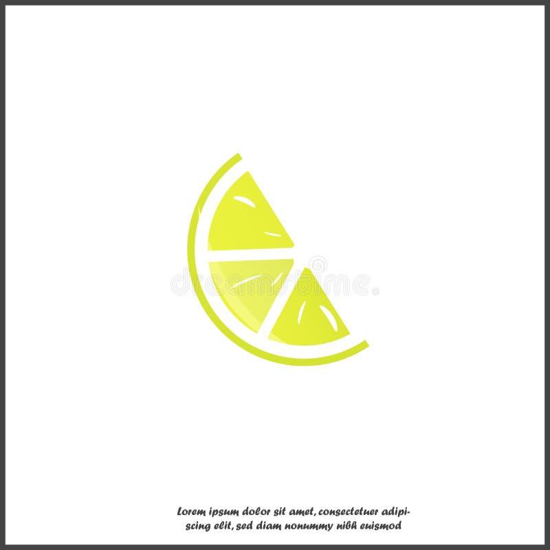 Значок вектора Лемон на белом изолированном фоне бесплатная иллюстрация