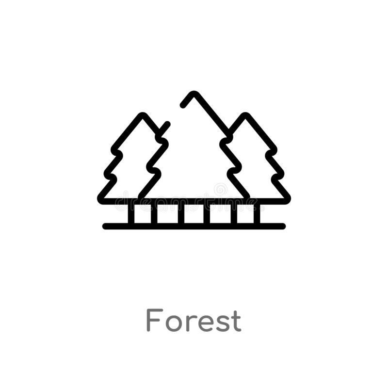 значок вектора леса плана изолированная черная простая линия иллюстрация элемента от располагаясь лагерем концепции editable лес  иллюстрация вектора
