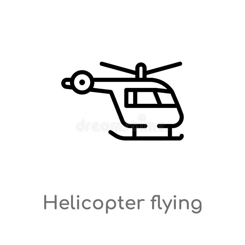 значок вектора летания вертолета плана изолированная черная простая линия иллюстрация элемента от концепции крупного аэропорта ed иллюстрация вектора