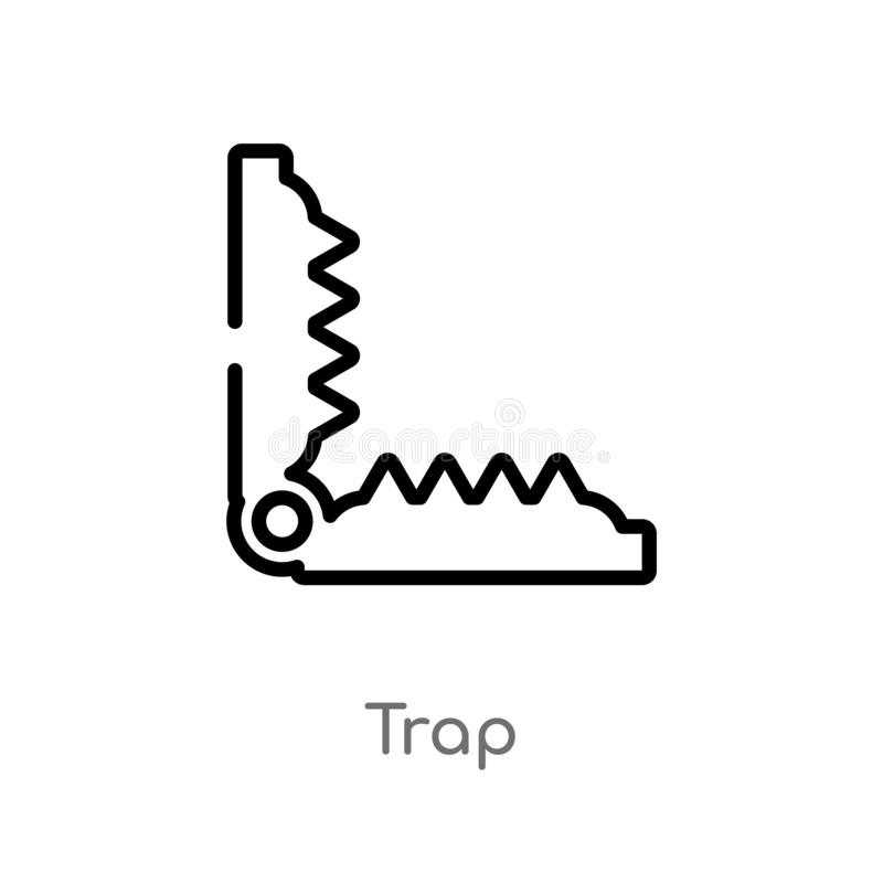 значок вектора ловушки плана изолированная черная простая линия иллюстрация элемента от концепции животных editable значок ловушк бесплатная иллюстрация