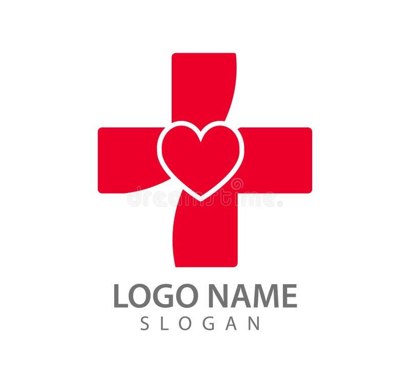 Значок вектора логотипа больницы красный, доктор, график с формой сердца бесплатная иллюстрация