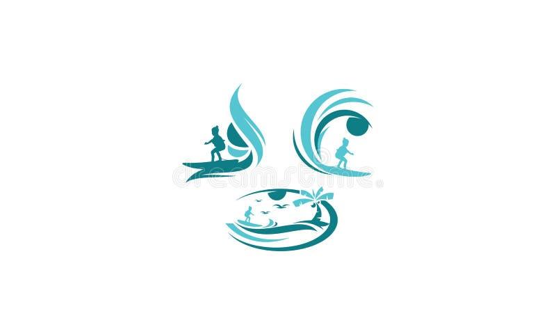 Значок вектора логотипа пляжа прибоя бесплатная иллюстрация